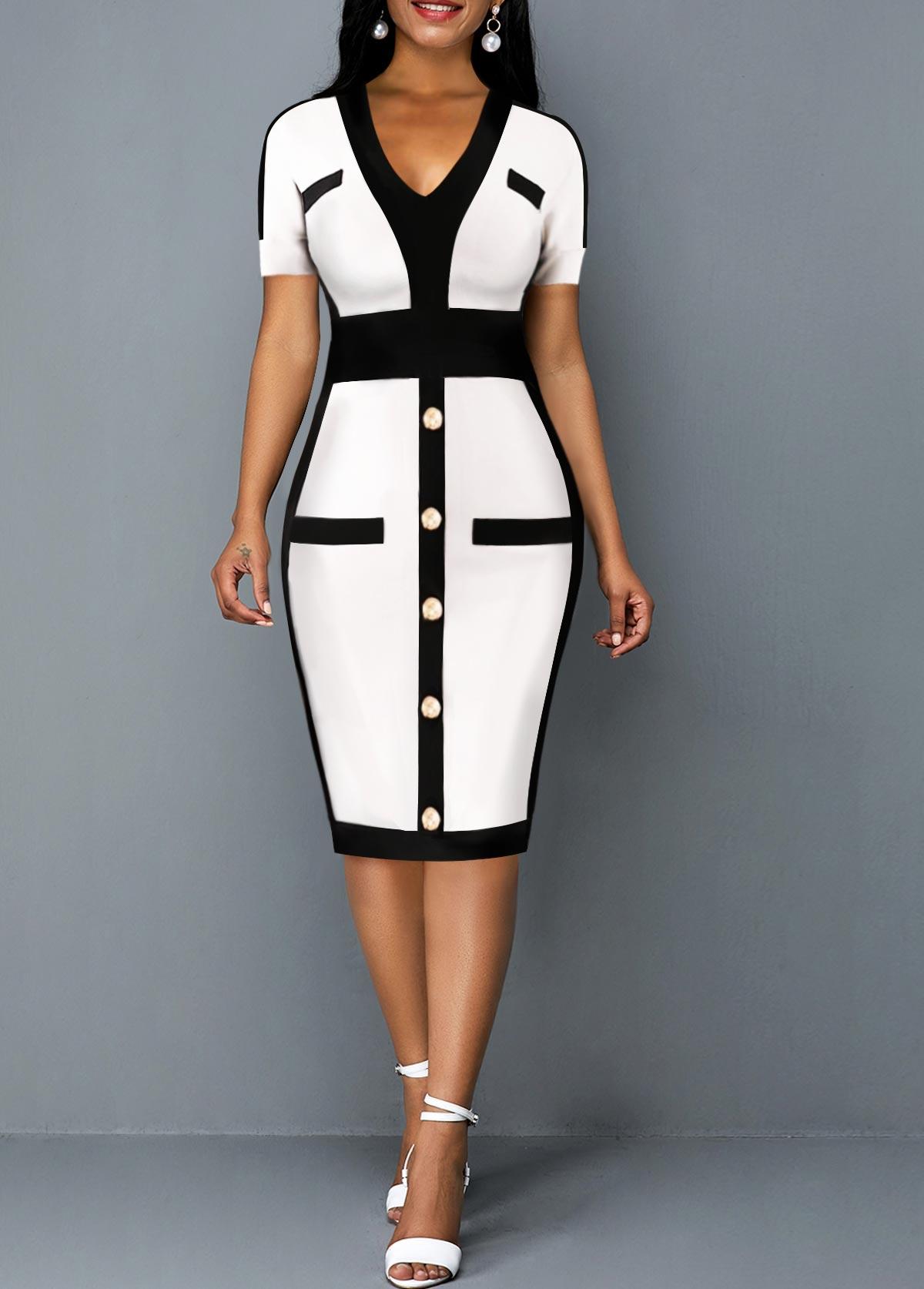 V Neck Short Sleeve Contrast Dress