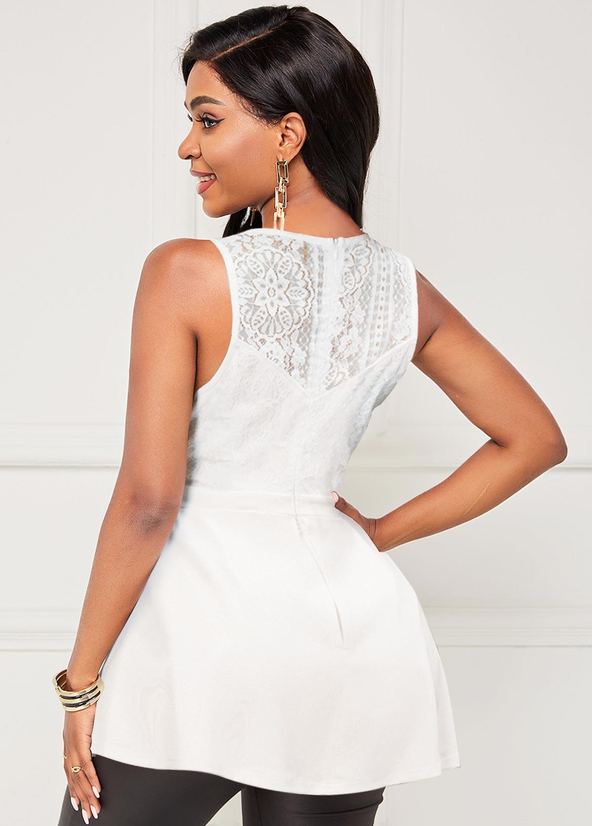 Lace Stitching Round Neck Sleeveless Blouse
