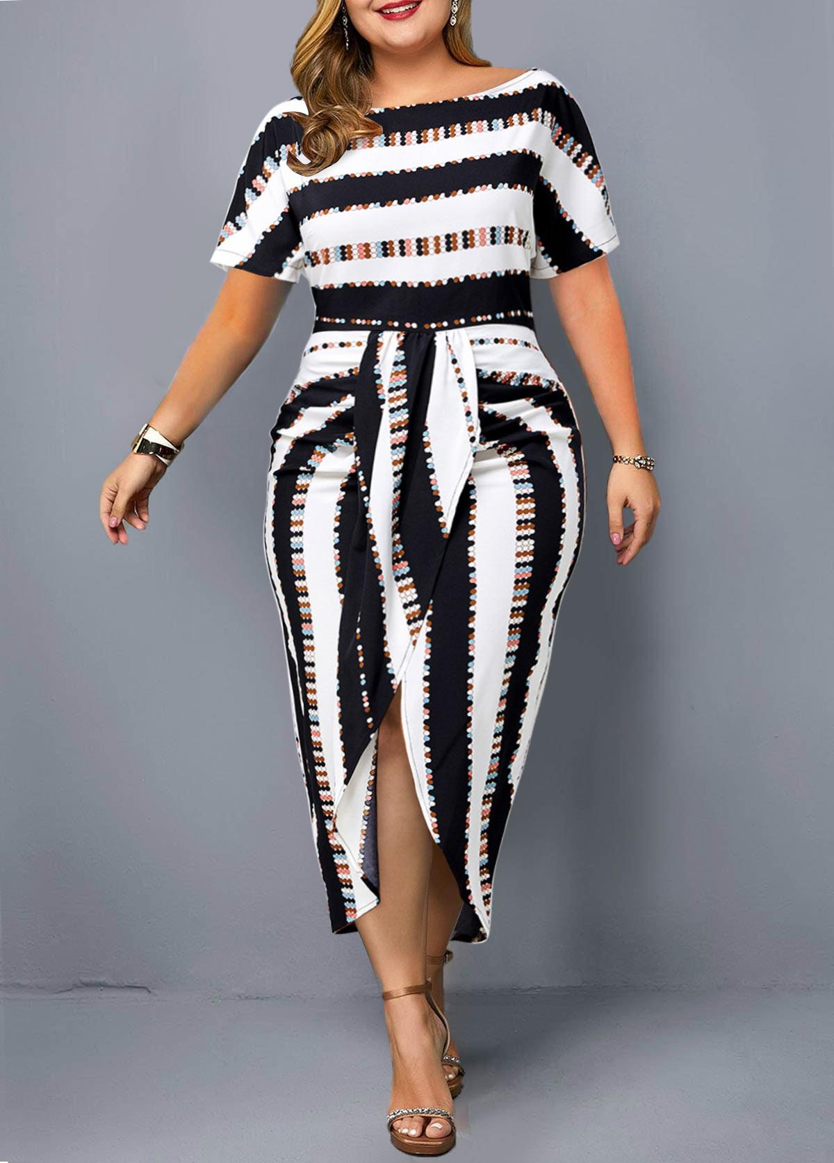 Tie Front Striped Plus Size Dress