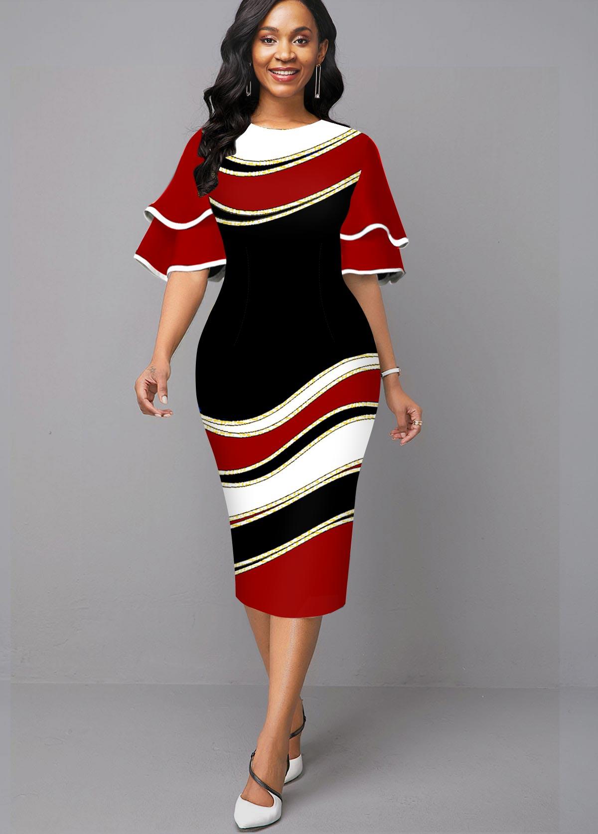 Round Neck Geometric Print Ruffle Sleeve Dress