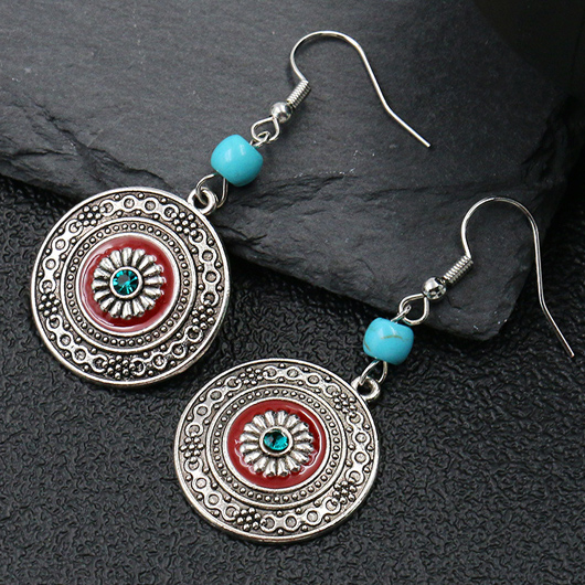 Turquoise Tribal Design Circle Detail Earring Set