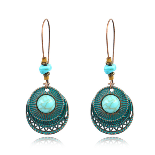 Metal Detail Turquoise Retro Earring Set