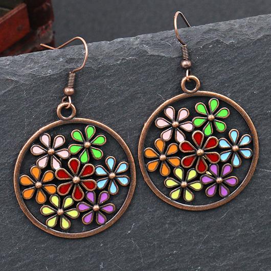 Metal Circle Design Floral Detail Earring Set