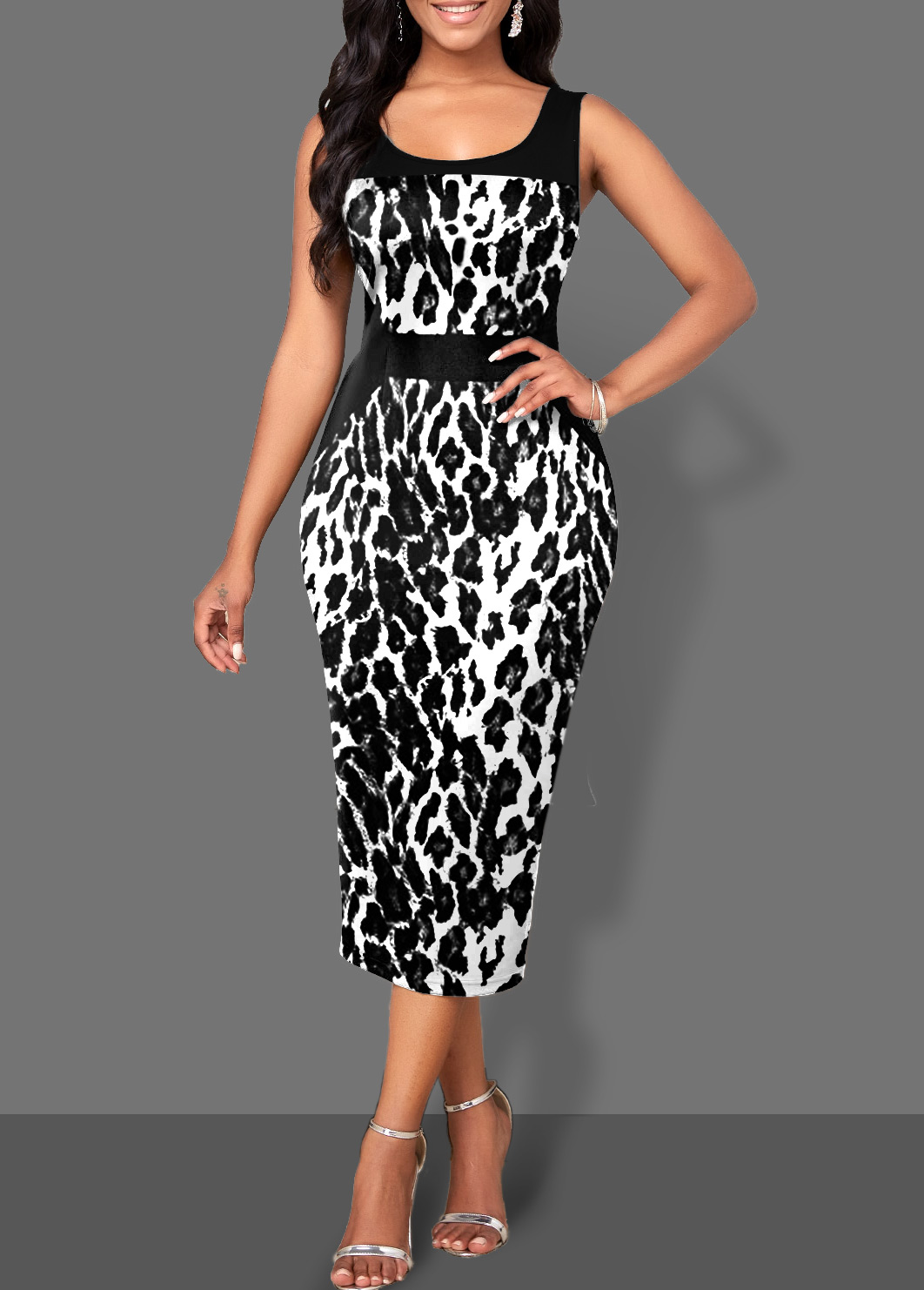 Wide Strap Bodycon Monochrome Leopard Dress