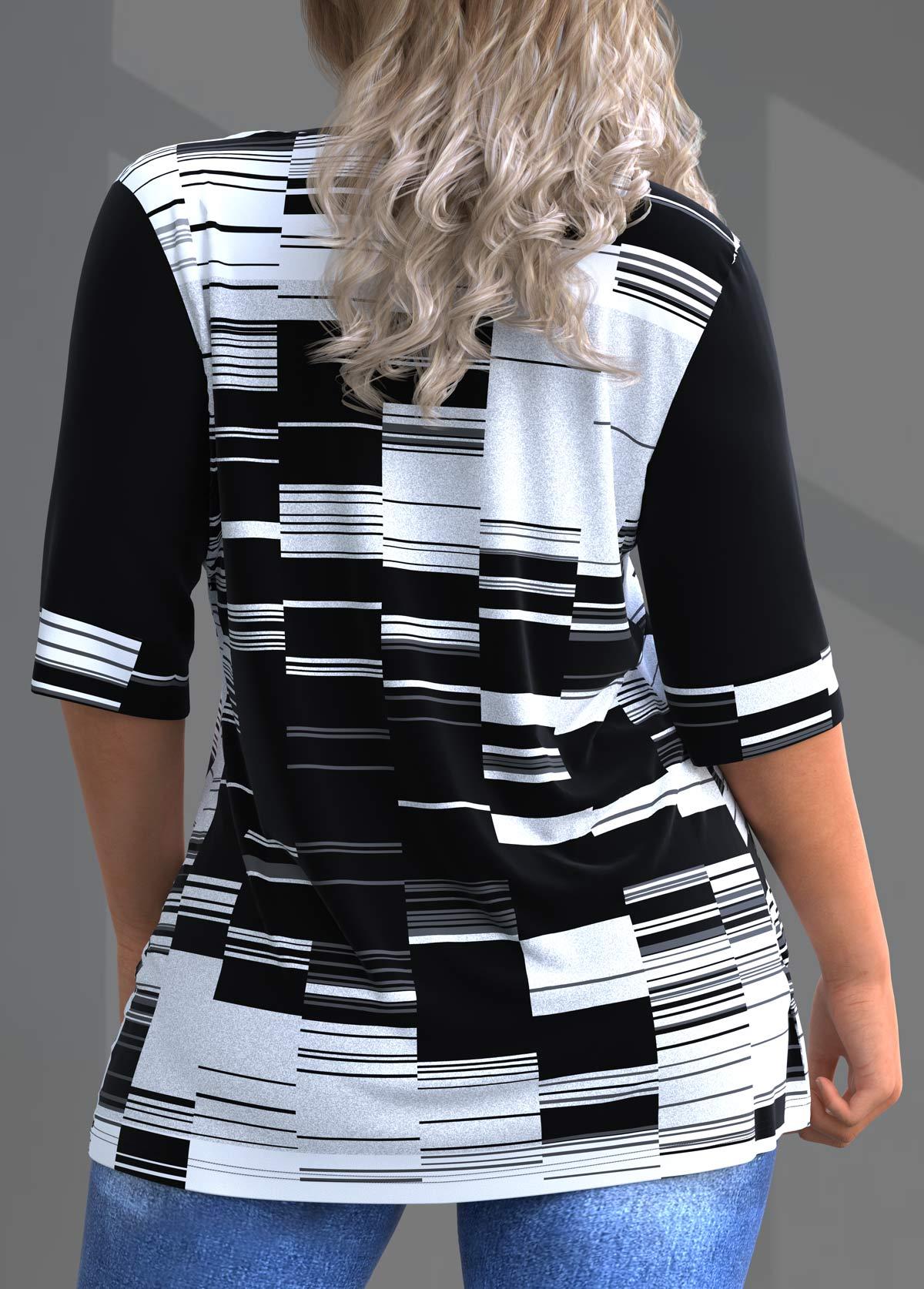Geometric Print Plus Size Split Neck T Shirt