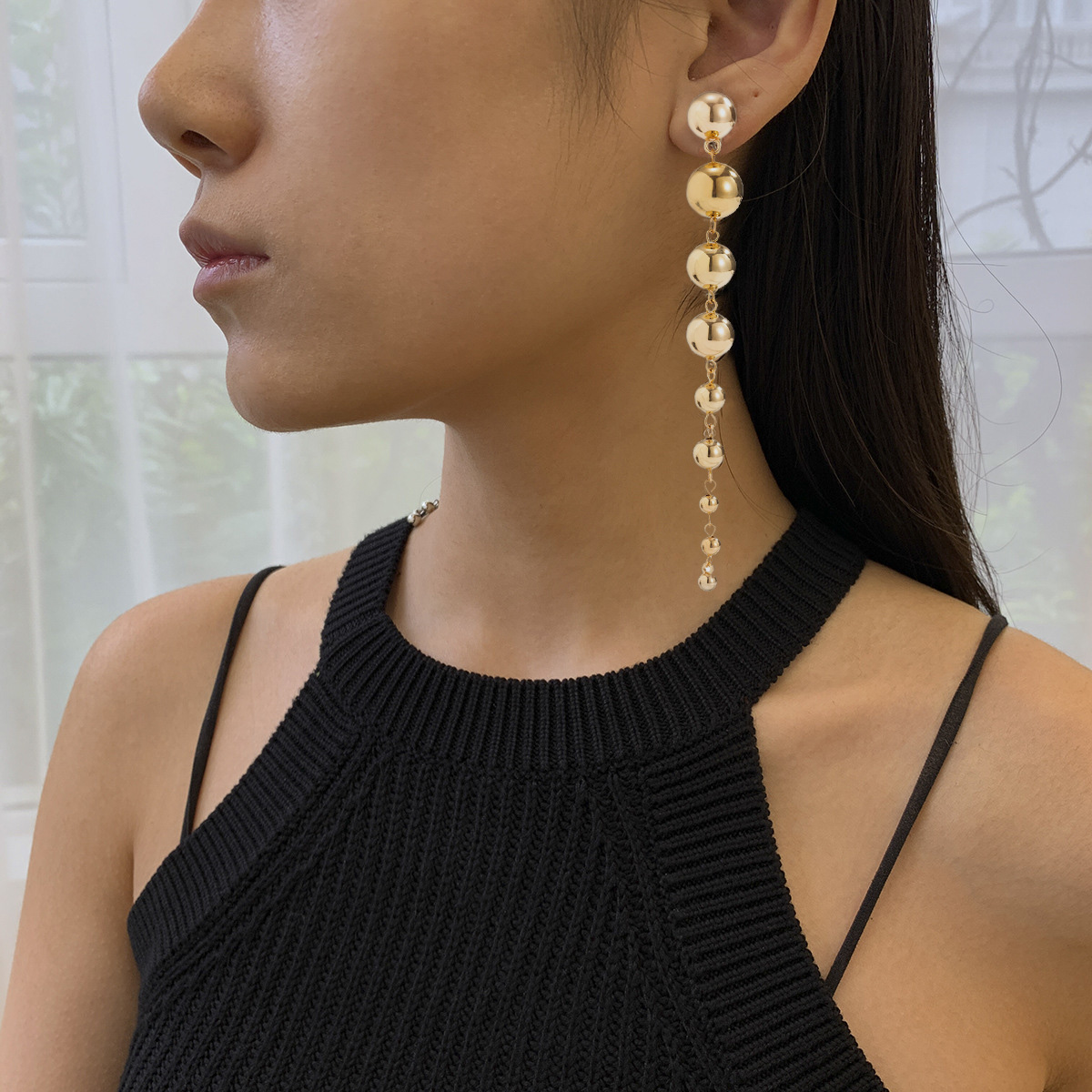 Copper Coated Beads Detail Gold Earring Set