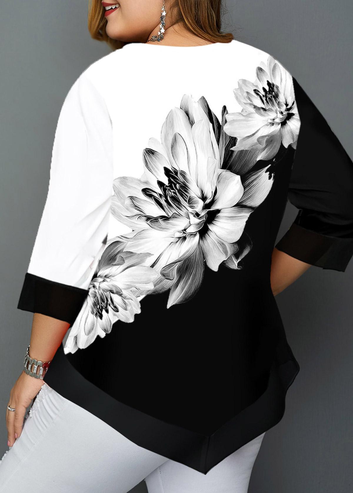 Floral Print Asymmetric Hem Plus Size T Shirt