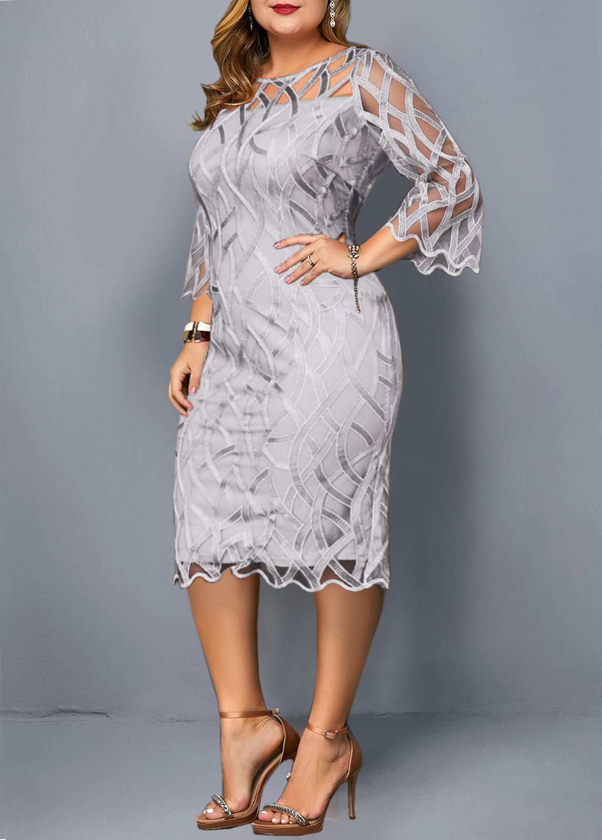 Plus Size Round Neck 3/4 Sleeve Dress