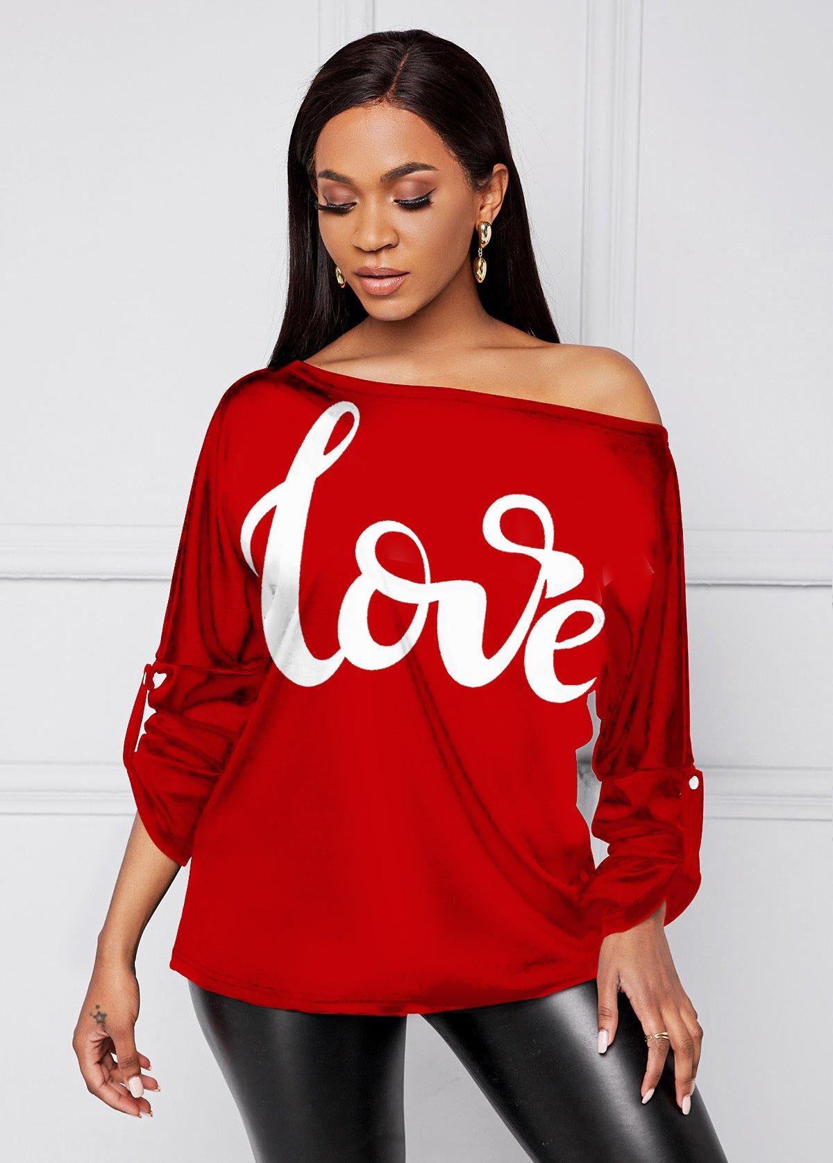 Long Sleeve Skew Neck Letter Print T Shirt
