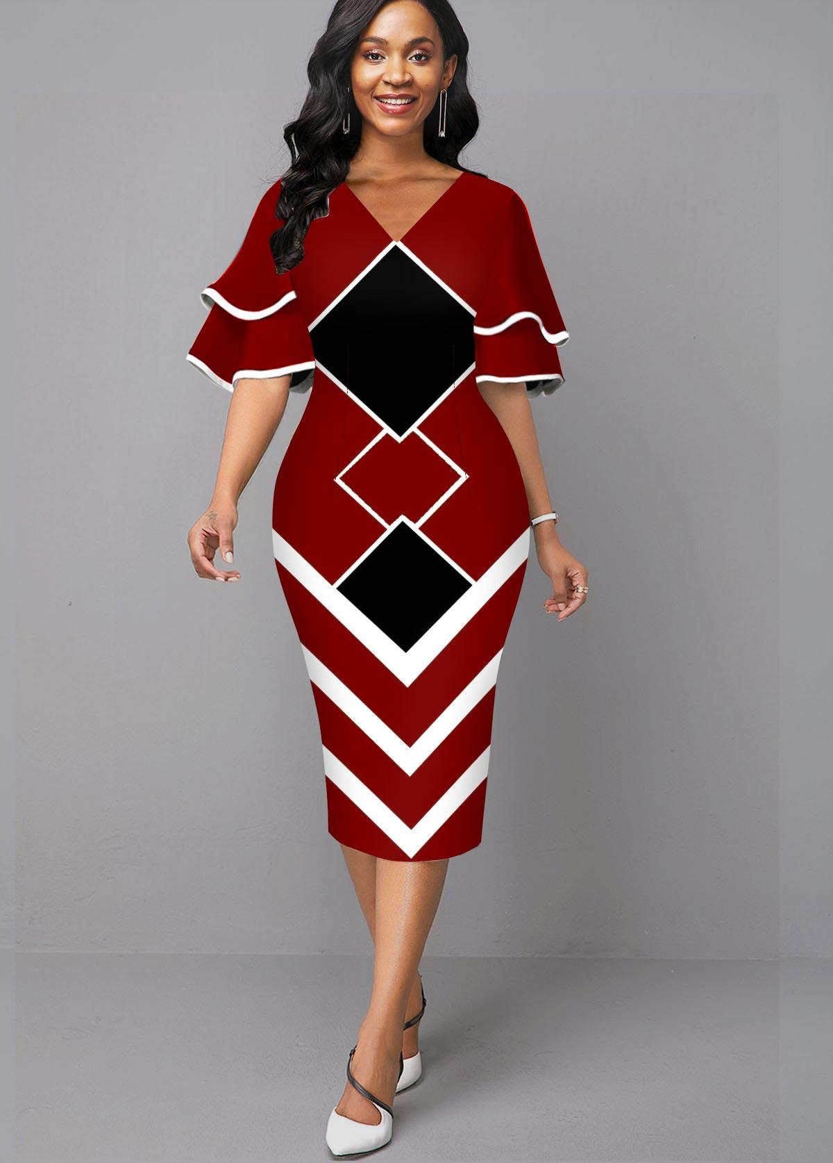 V Neck Geometric Print Layered Bell Sleeve Dress