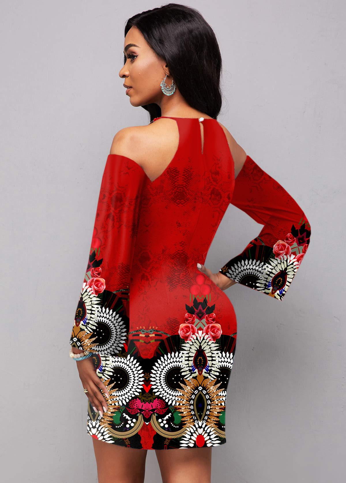 Cold Shoulder Long Sleeve Tribal Print Dress