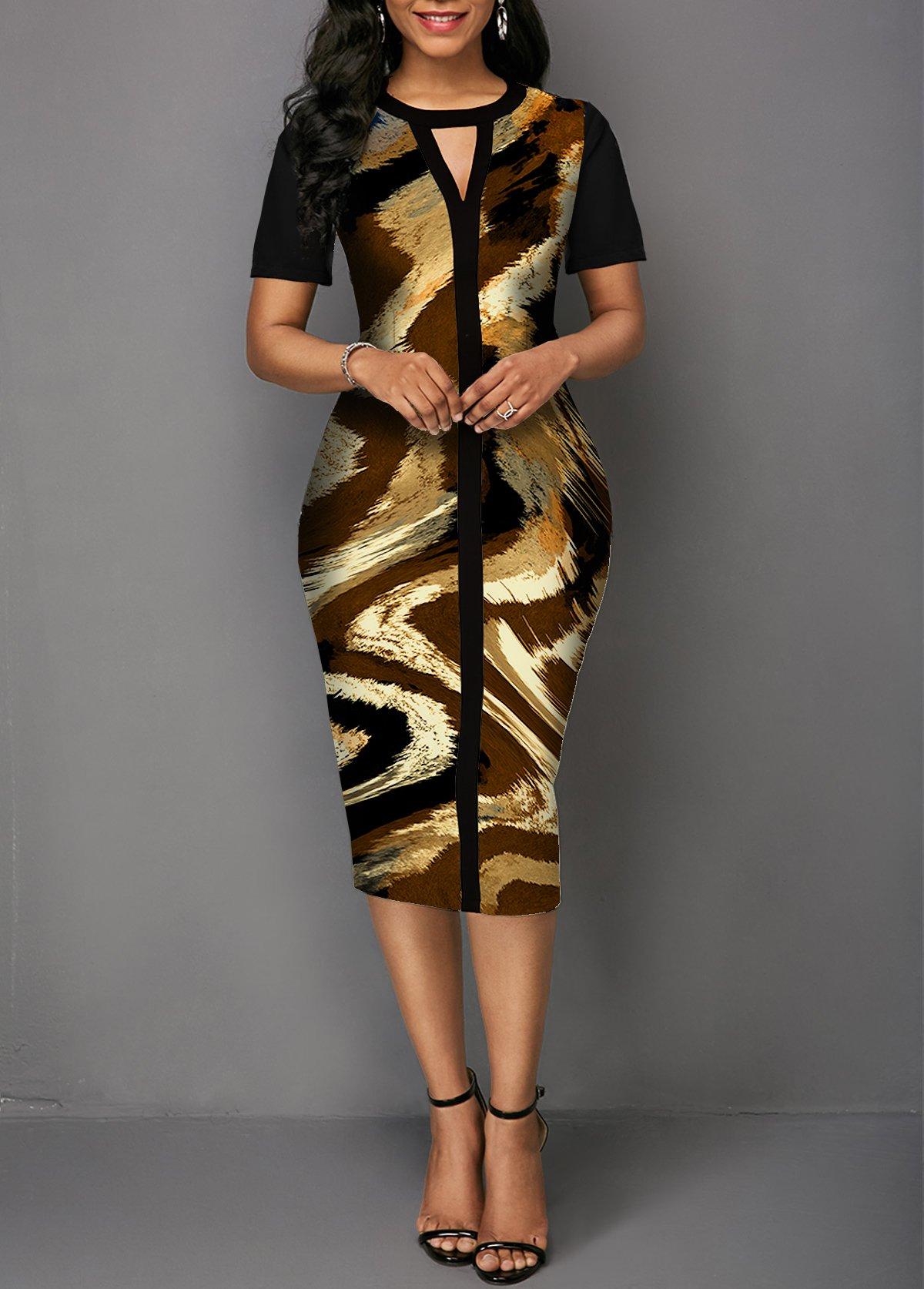 Cutout Front Printed Short Sleeve Dress