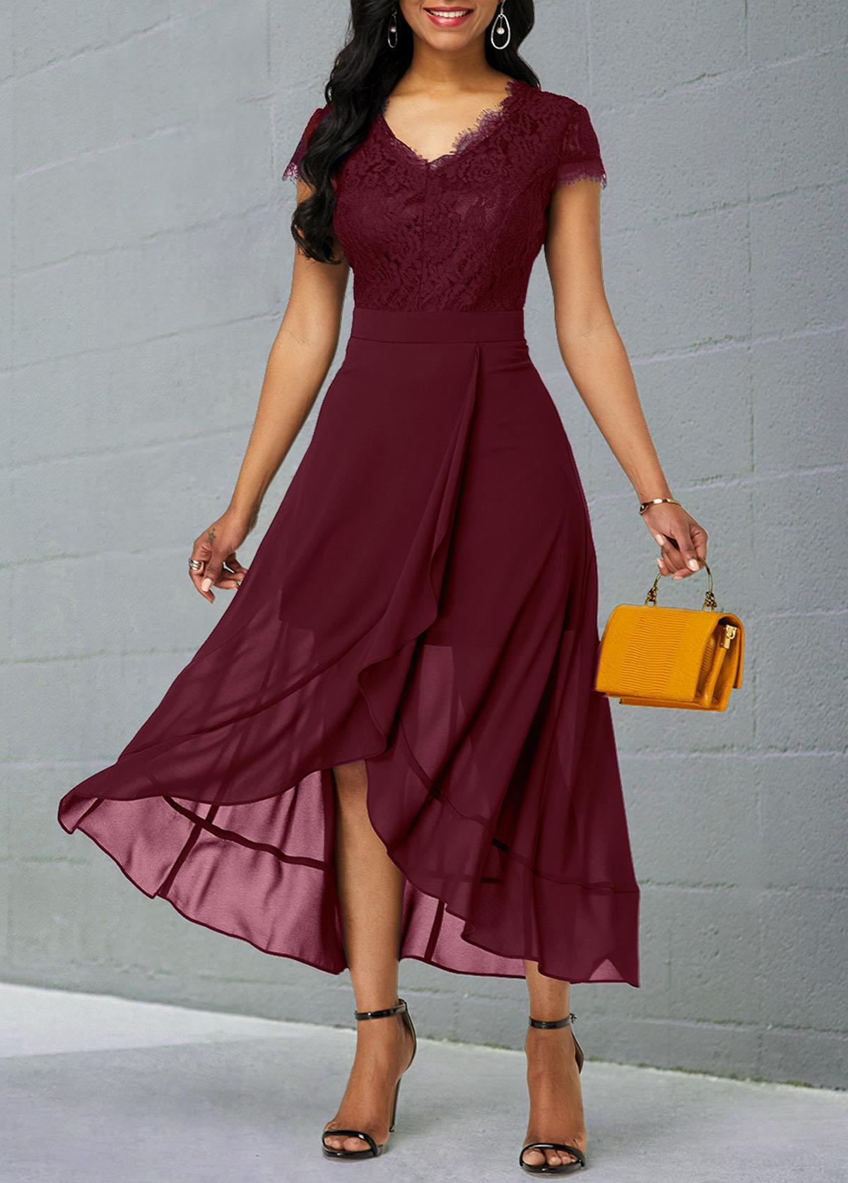 Chiffon Lace Patchwork Short Sleeve Dress