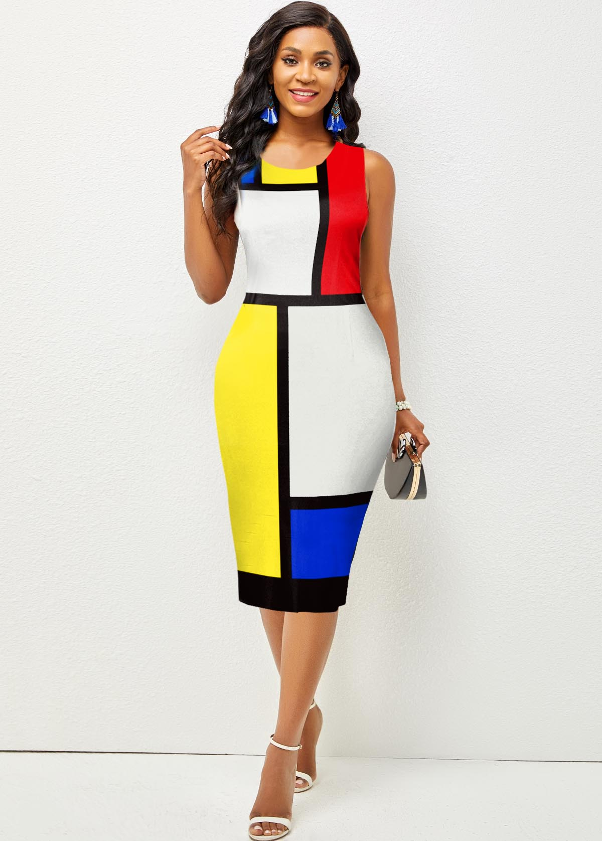 Color Block Sleeveless Round Neck Dress