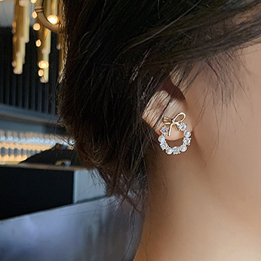Pearl Rhinestone Bowknot Metal Detail Earrings