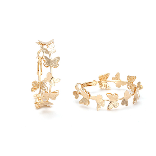 Gold Butterfly Design Circle Detail Earring Set