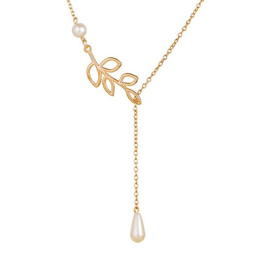 Metal Leaf Design Pearl Detail Necklace
