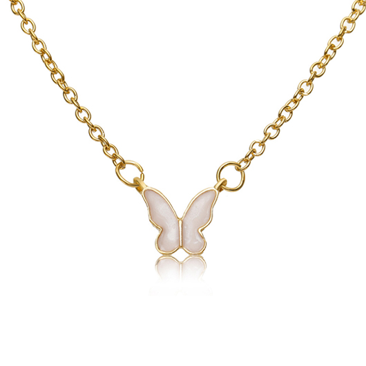 Metal Detail Butterfly Pendant Gold Necklace