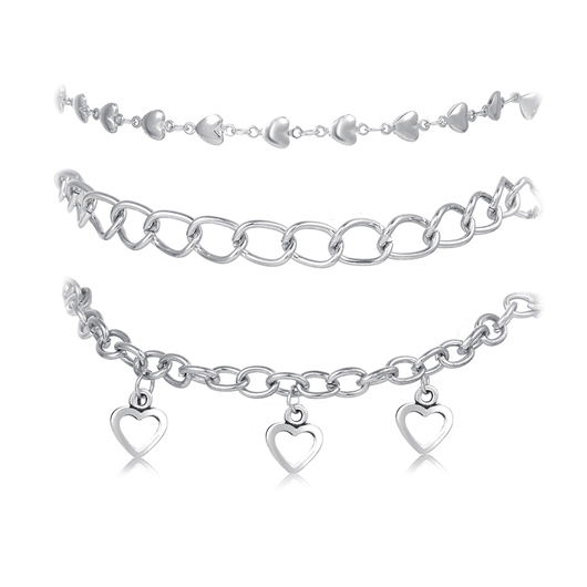 Silver Metal Heart Pendant Anklets