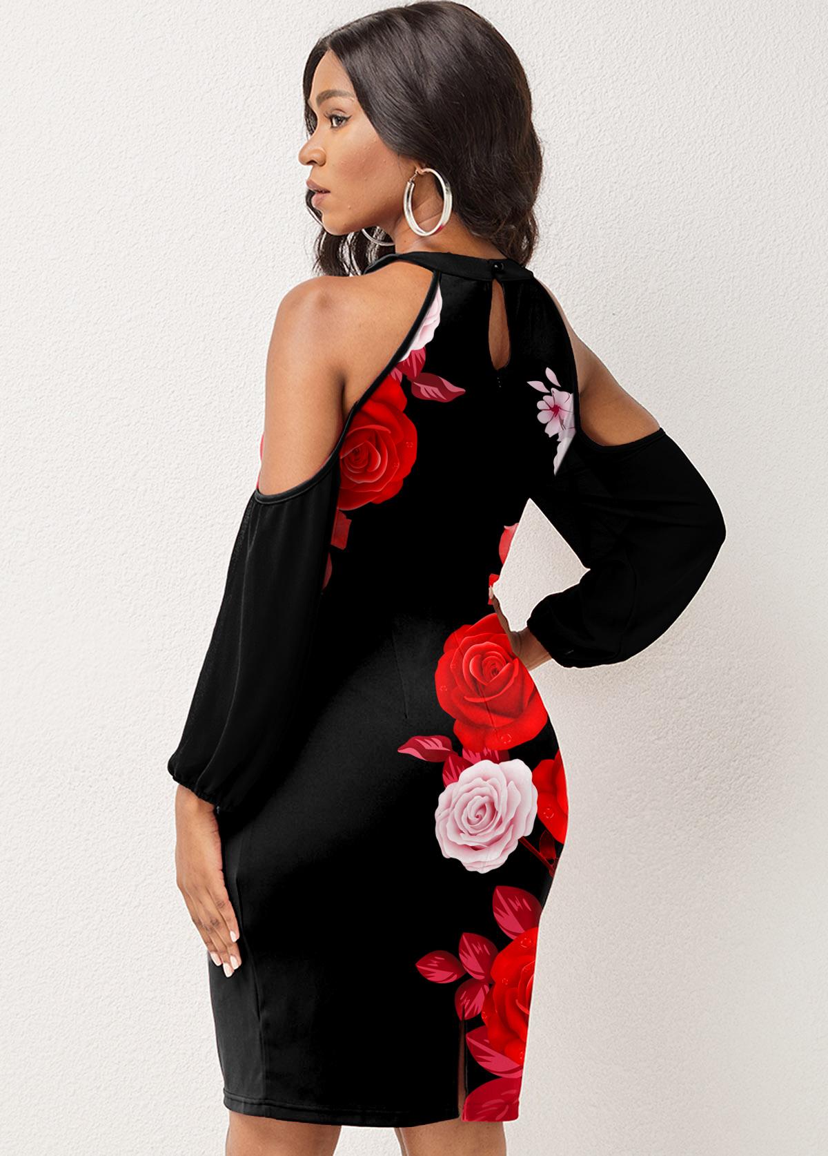 Lantern Sleeve Floral Print Cold Shoulder Dress