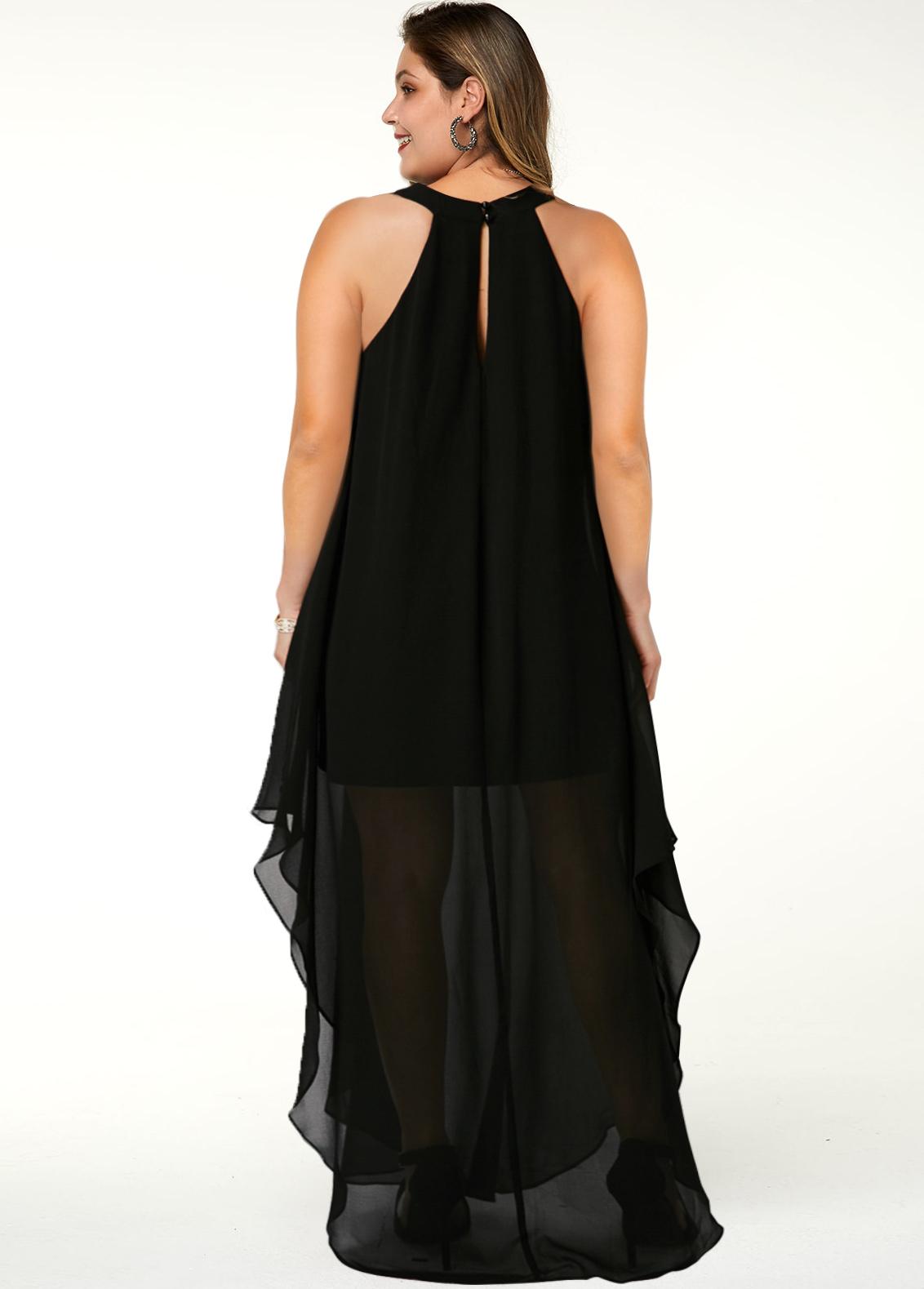 Solid Side Slit Plus Size Dress