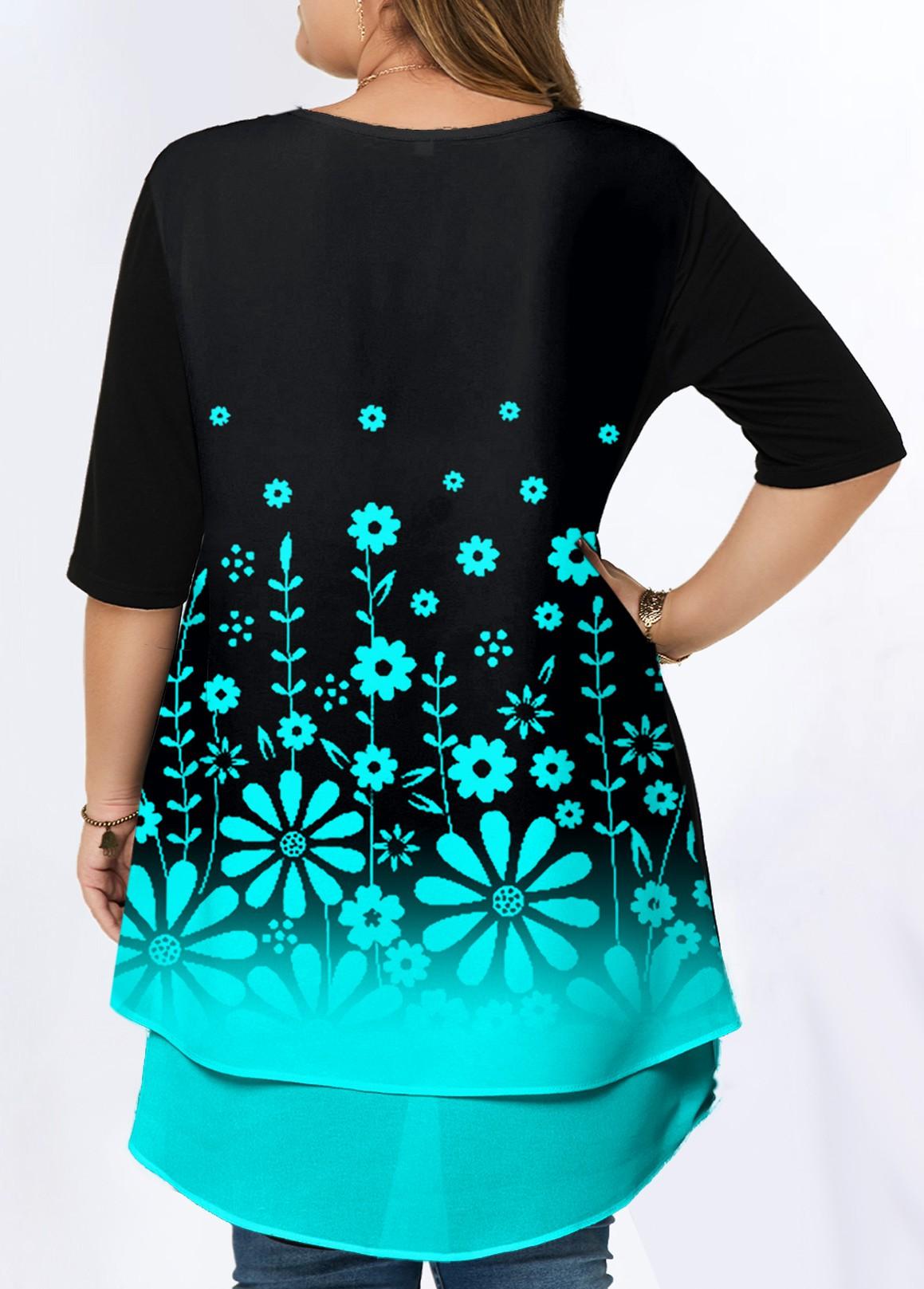 Floral Print Ombre Plus Size T Shirt