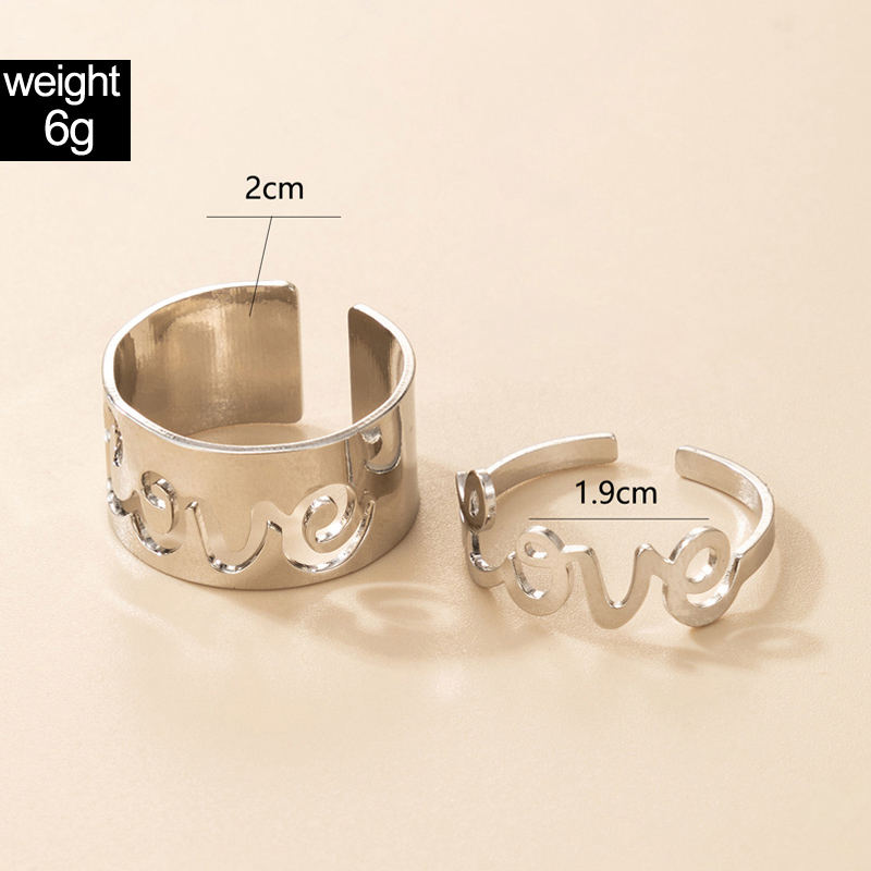 Metal Detail Hollow Out Silver Rings