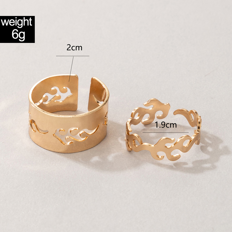 Gold Metal Detail Hollow Out Rings