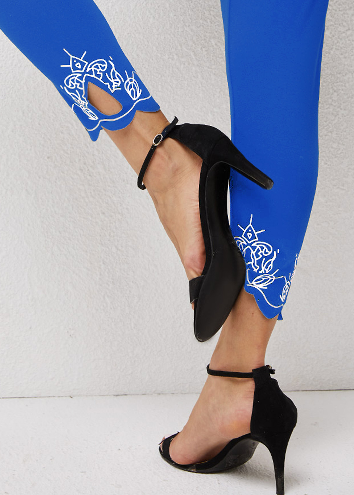 Printed Skinny High Waisted Pierced Pants