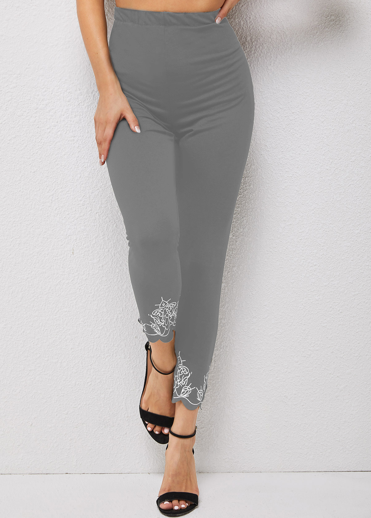 High Waisted Pierced Skinny Printed Pants
