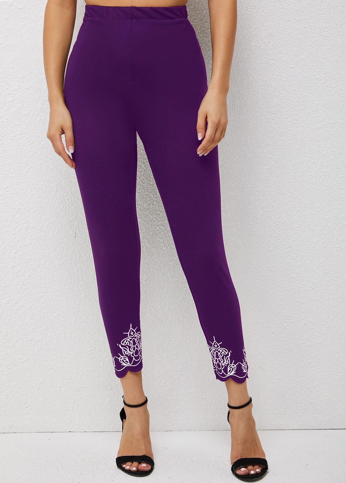 Skinny High Waisted Printed Pierced Pants