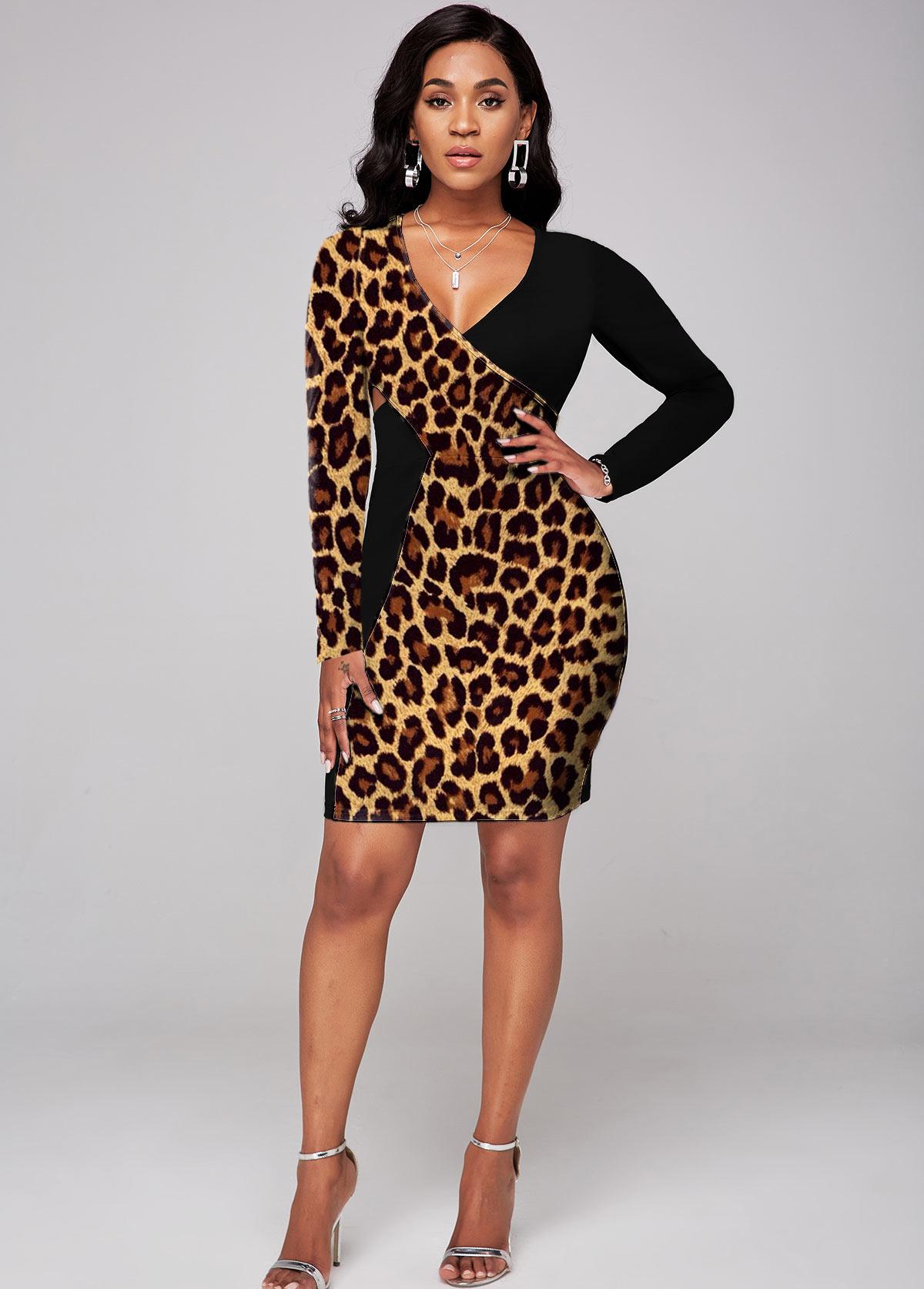 Cross Front Leopard Long Sleeve Dress