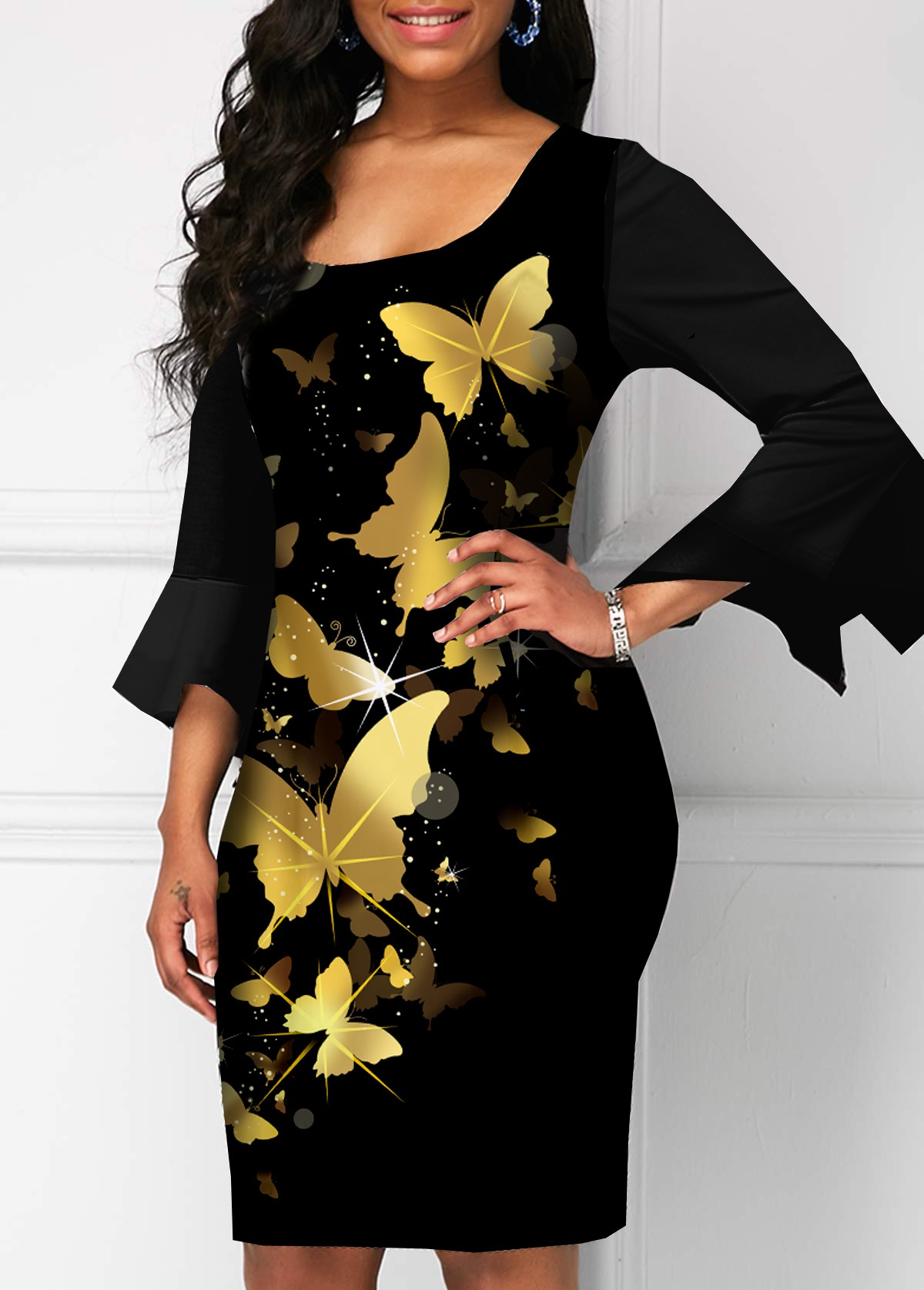 Butterfly Print Hanky Sleeve Square Collar Dress
