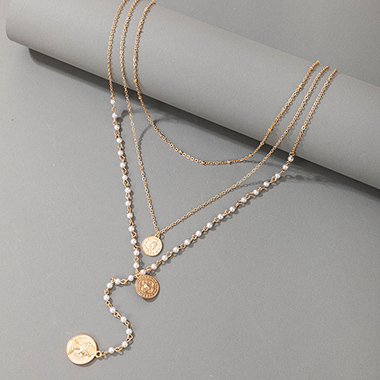 Metal Detail Pearl Layered Design Necklace