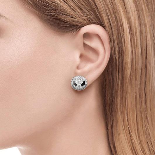 Silver Rhinestone Design Skull Detail Earring Set