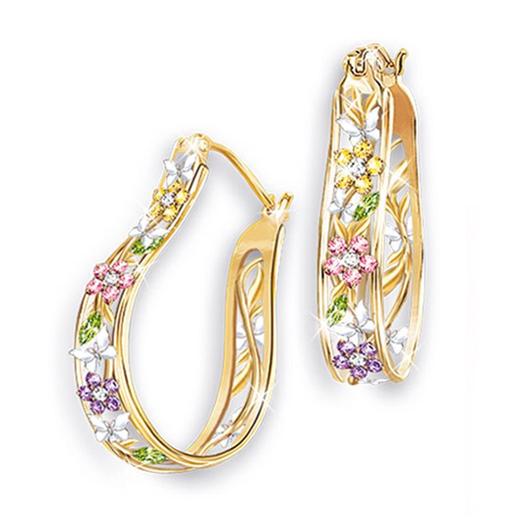 Metal Rhinestone Detail Flower Design Earring Set