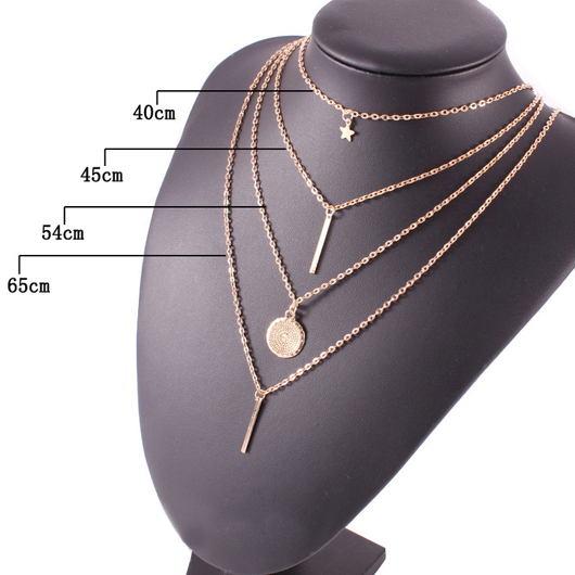Layered Design Gold Metal Bar Pendant Necklace