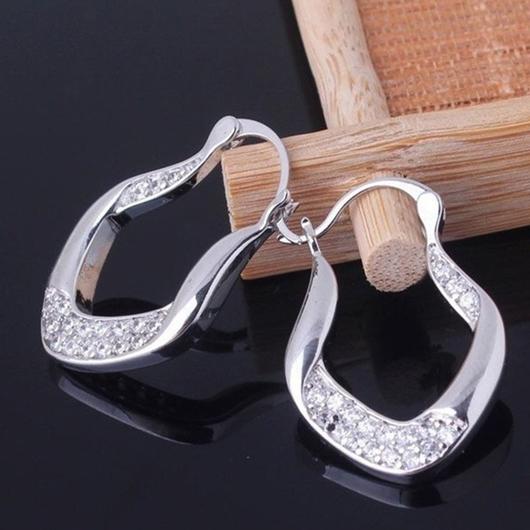 Silver Asymmetric Design Rhinestone Detail Earring Set
