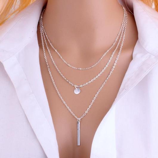 Metal Bar Pendant Silver Layered Design Necklace
