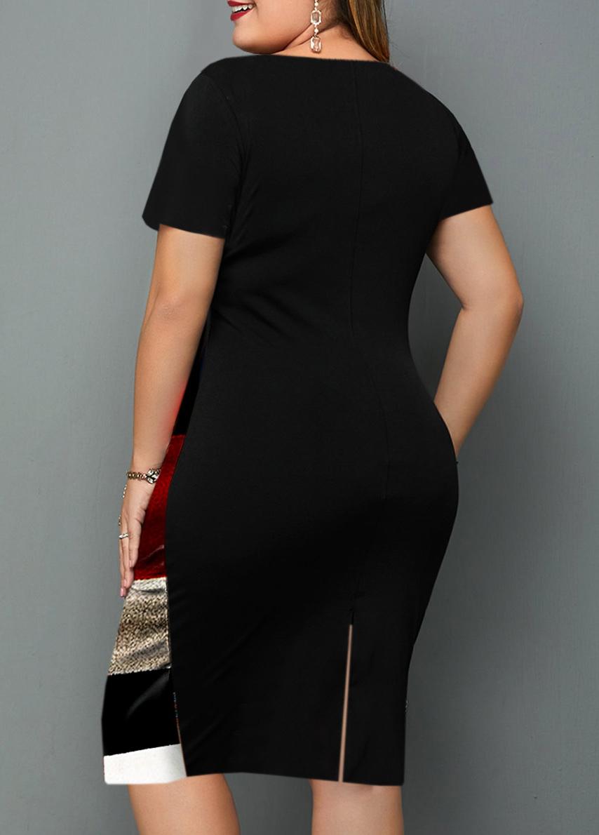 Plus Size Short Sleeve Geometric Print Dress