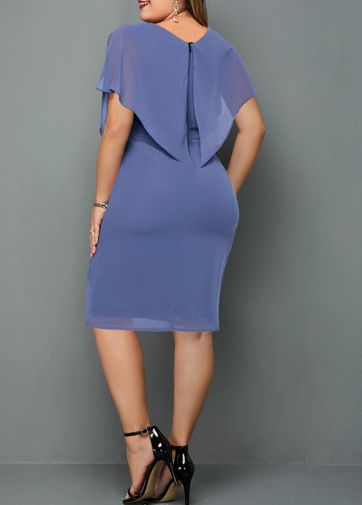 Solid Chiffon Plus Size V Neck Dress