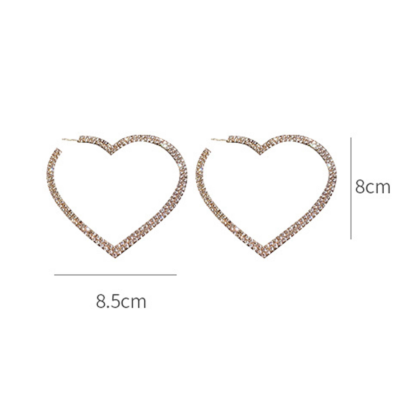 Rhinestone Metal Heart Detail Earring Set