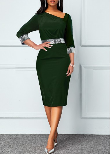 Rosewe Cocktail Party Dress V Neck 3/4 Sleeve Sequin Dress - XXL