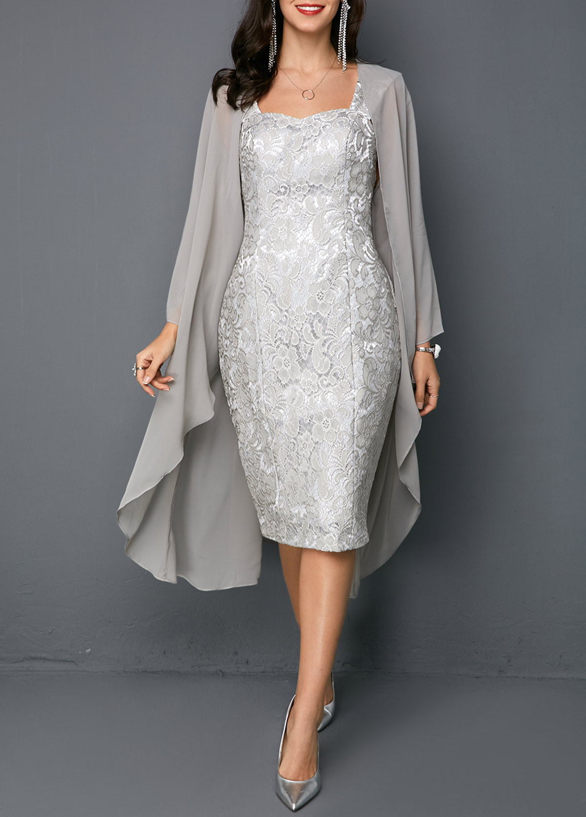 Open Front Cardigan and Tie Back Sleeveless Sheath Dress