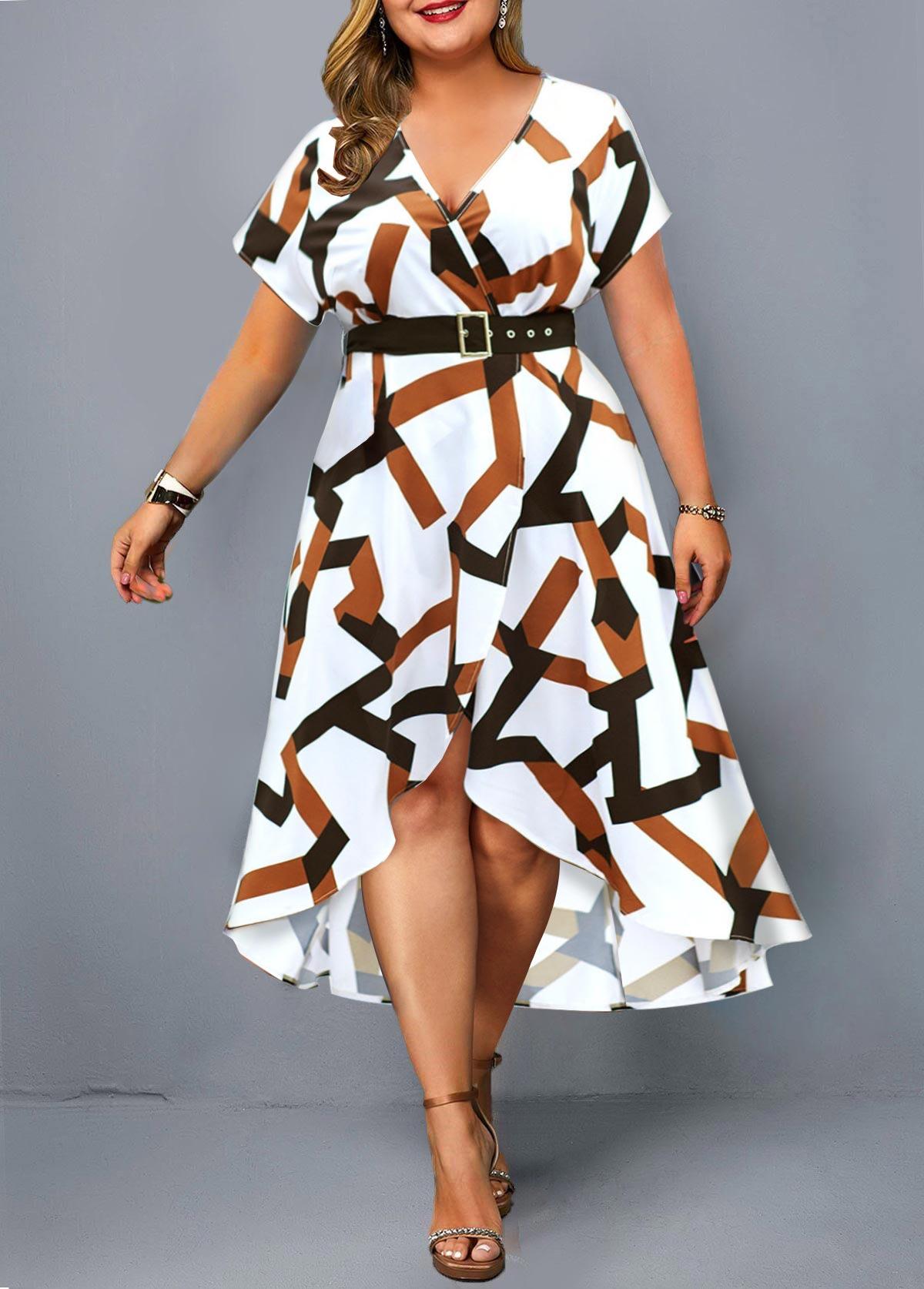 Geometric Print Asymmetric Hem Plus Size Dress