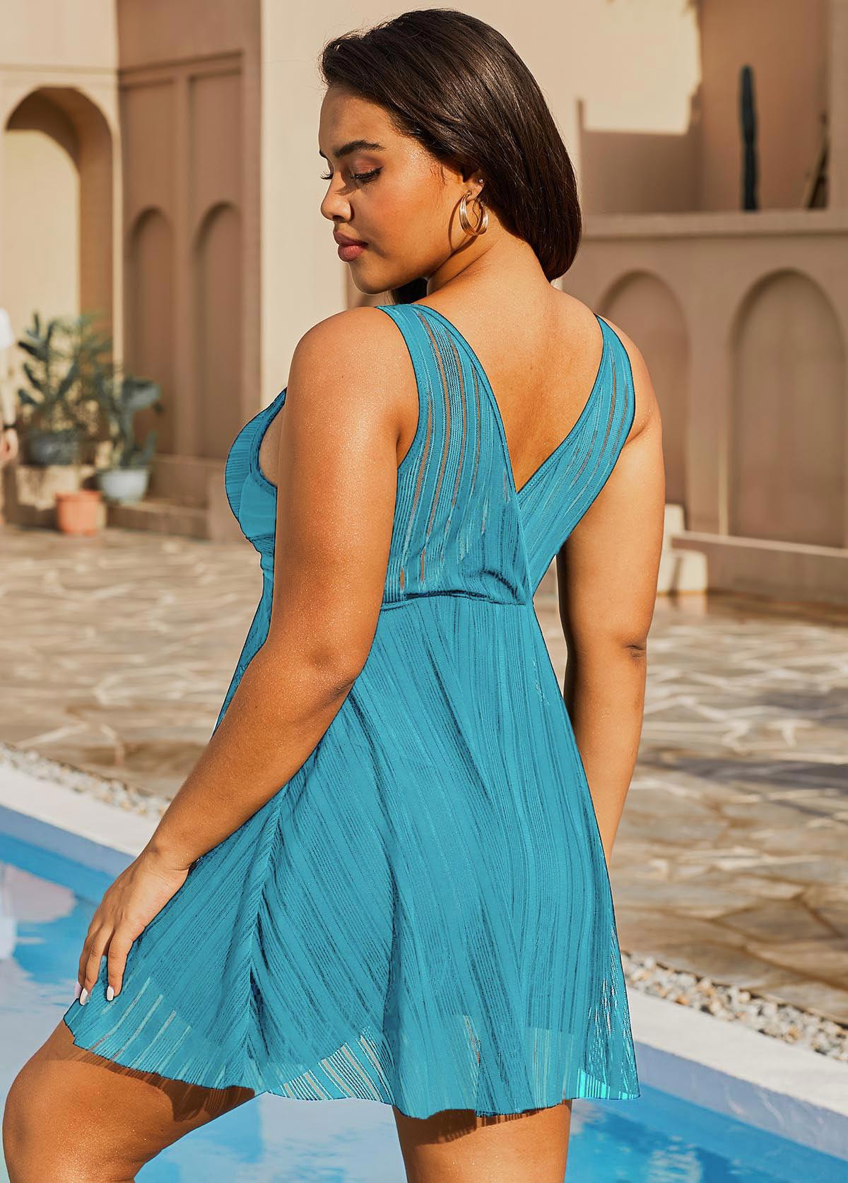 Lace Crossover Hem Plus Size Swimdress and Shorts