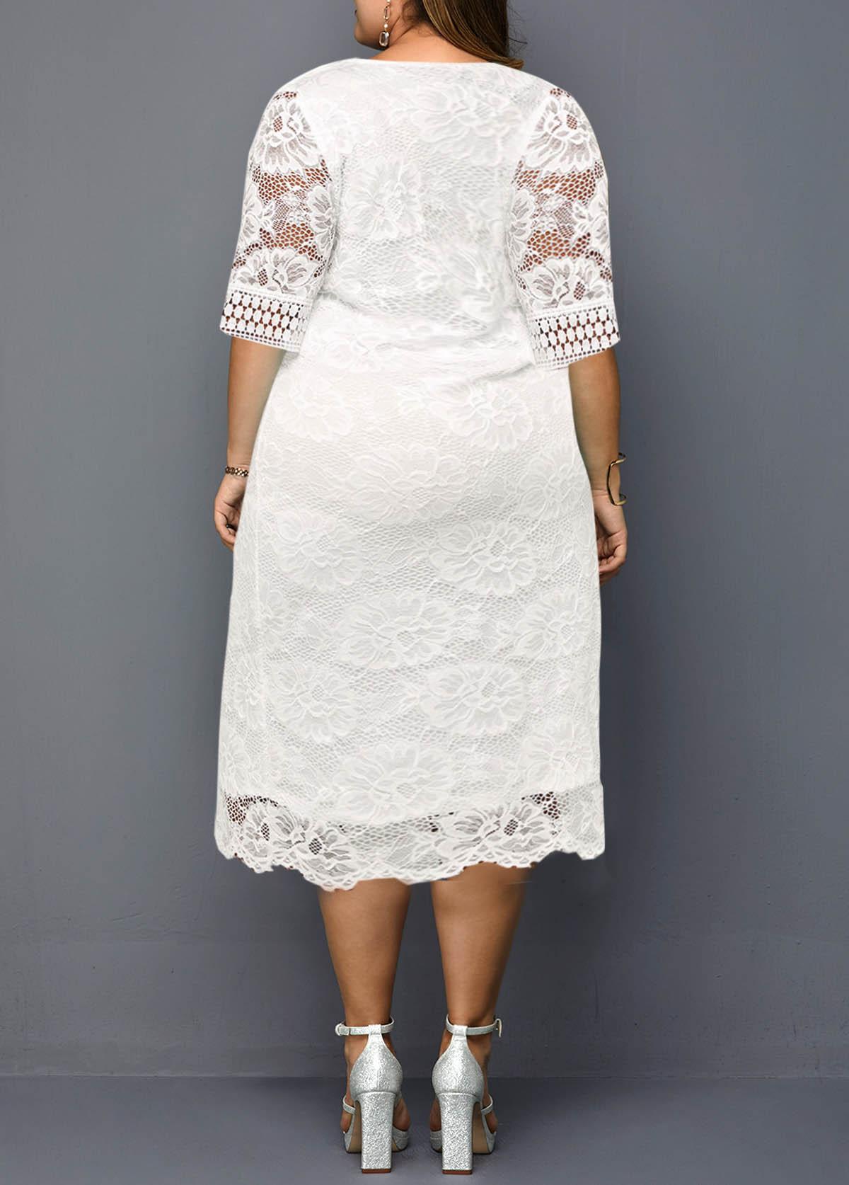 3/4 Sleeve Plus Size Lace Stitching Dress