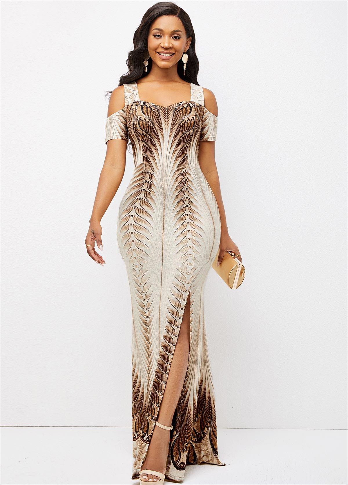 Foil Print Texture Knitted Side Slit Dress
