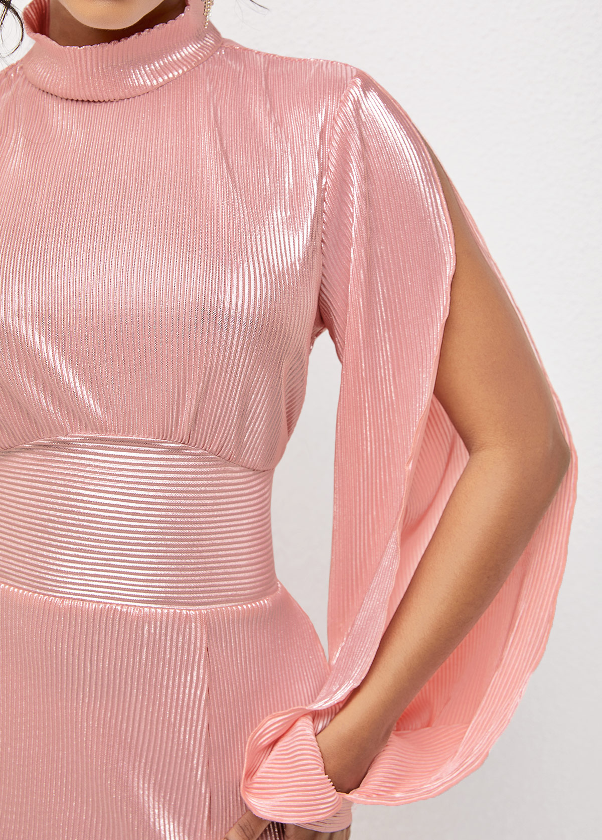 Cutout Detail Mock Neck Long Sleeve Dress
