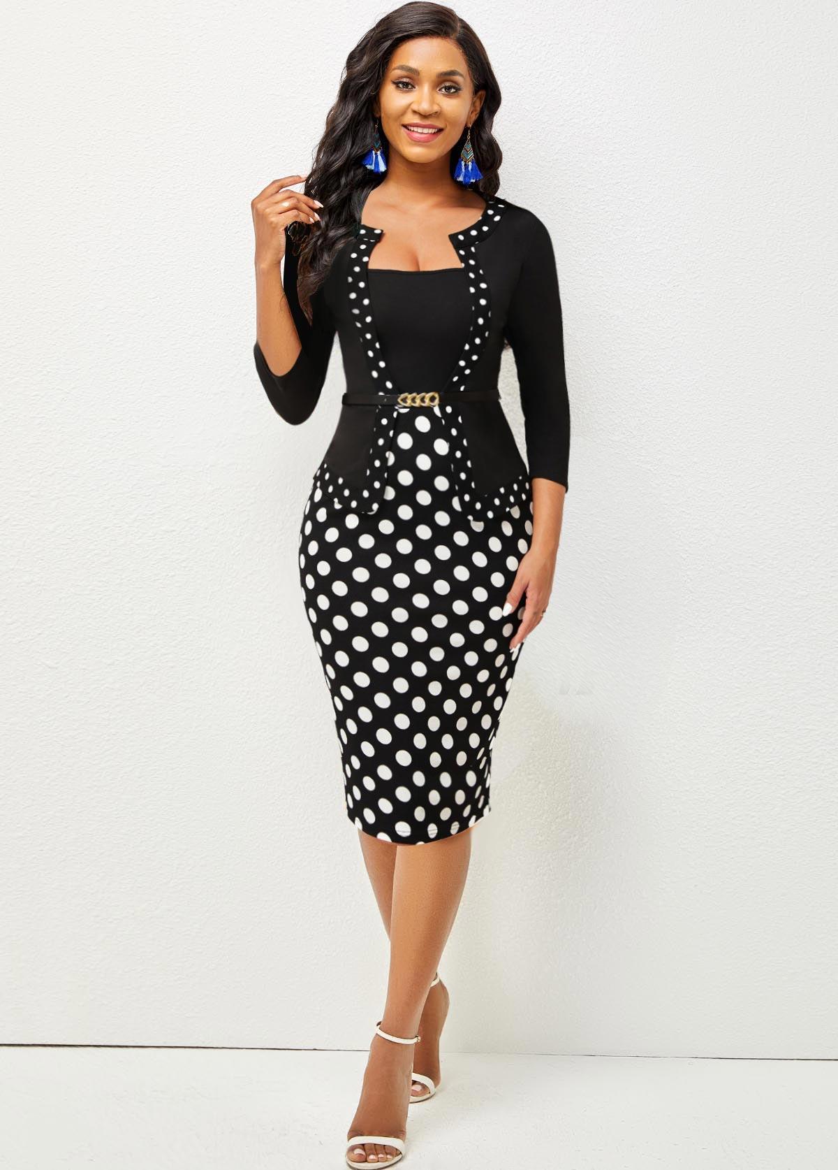 Back Slit Polka Dot 3/4 Sleeve Dress